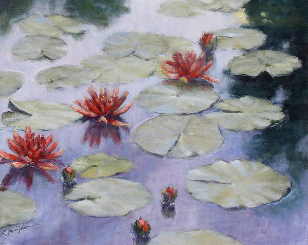 Evening Scene Poster featuring the painting Smooth Sailing - Lilies In Monets Garden by L Diane Johnson