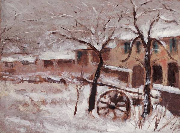 Snow Poster featuring the painting Snow On The Farmhouse by Mario Zampedroni