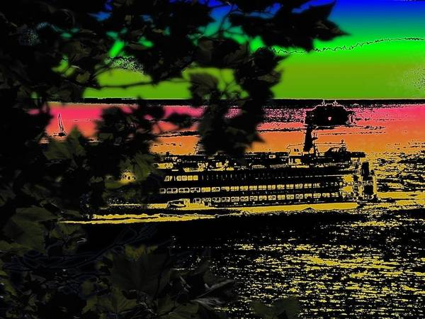 Ferry Poster featuring the digital art Soundside Treehouse View by Tim Allen
