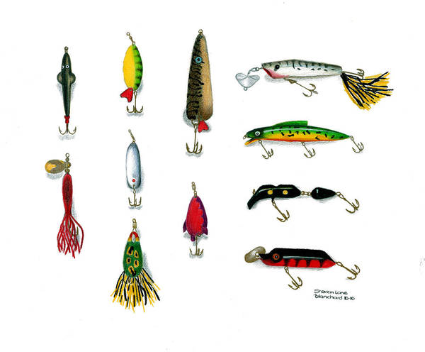 Sport Fishing Poster featuring the drawing Sport Fishing Spinners Spoons And Plugs by Sharon Blanchard
