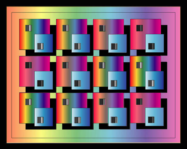 Abstract Poster featuring the digital art Squares by George Pasini