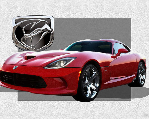'dodge Viper' By Serge Averbukh Poster featuring the photograph S R T Viper with 3 D Badge by Serge Averbukh