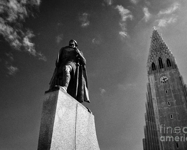 Hallgrimskirkja Poster featuring the photograph statue of explorer lief eriksson in front of Hallgrimskirkja church Reykjavik church of iceland by Joe Fox