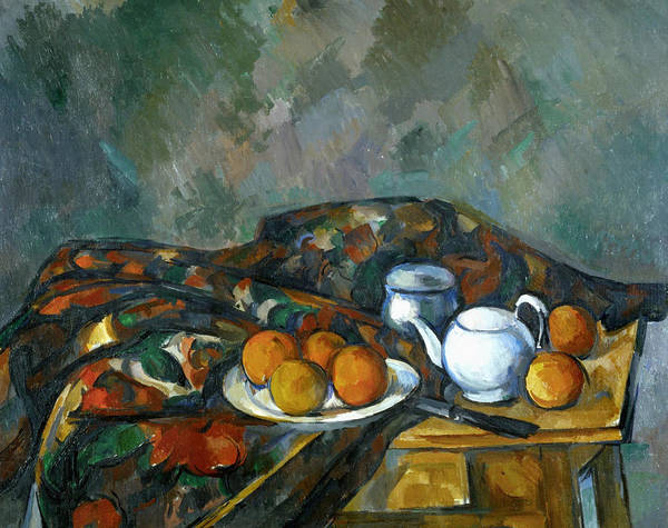 Cloth Poster featuring the painting Still Life With Teapot by Paul Cezanne