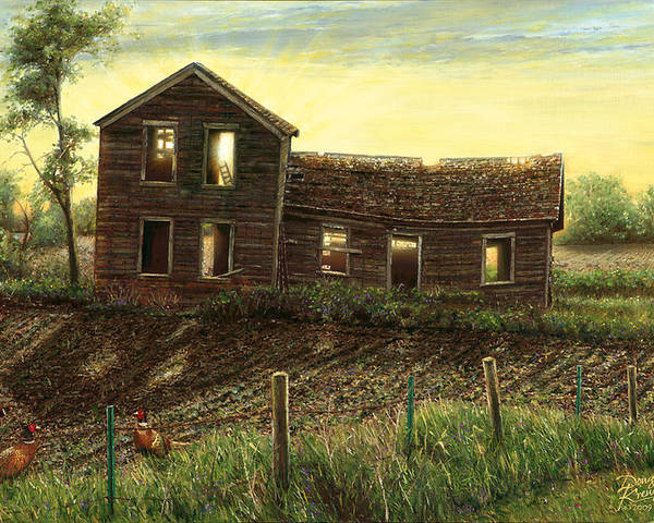 fine Art Oil Paintings By Artist Doug Kreuger old Abandoned Farmhouse prairie Homestead Pheasants Farm Sunrise Poster featuring the painting Still Light In The House by Doug Kreuger