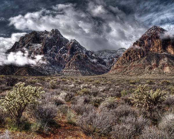 Red Rock Poster featuring the photograph Stormy Day At Red Rock by Joan McDaniel