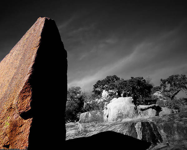 Landscapes Poster featuring the photograph Straight Edge Boulder Enchanted Rock Texas by Tom Fant