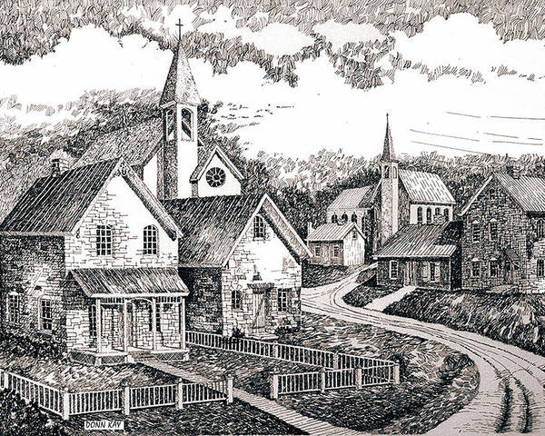 Western Art Sunday Houses Poster featuring the drawing Sunday Houses Along Old Church Street by Donn Kay