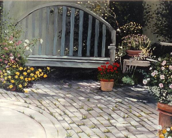 Flowers Poster featuring the painting Sunlit Courtyard by Sue Tesin