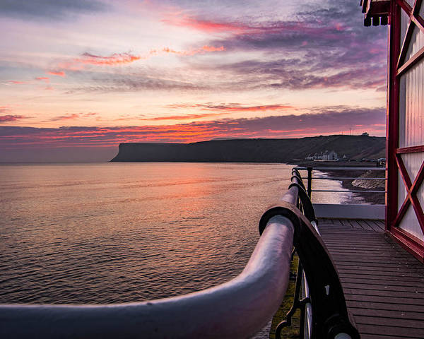 Saltburn Pier.saltburn Poster featuring the photograph Sunrise At Saltburn Pier by Andrew Oxby