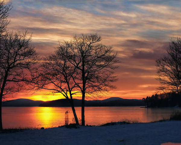 Dawn Poster featuring the photograph Sunrise Winnipesaukee by Stephen Anthony