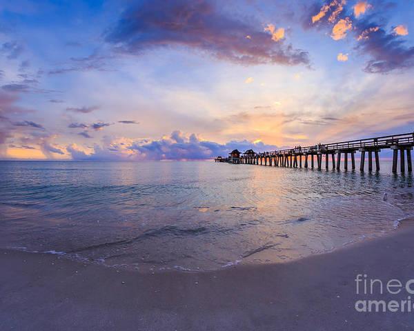 Beach Poster featuring the photograph Sunset Naples Pier Florida by Hans- Juergen Leschmann