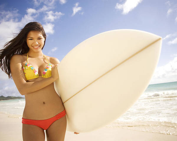 Attract Poster featuring the photograph Surfer Girl by Sri Maiava Rusden - Printscapes