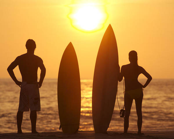 Afternoon Poster featuring the photograph Surfer Silhouettes by Larry Dale Gordon - Printscapes