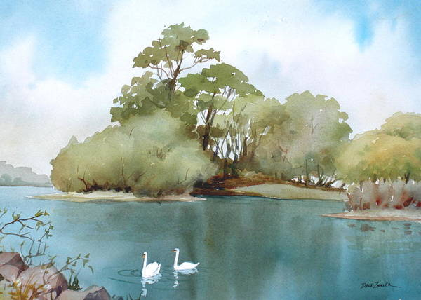 Swans Poster featuring the painting Swan Lake by Faye Ziegler