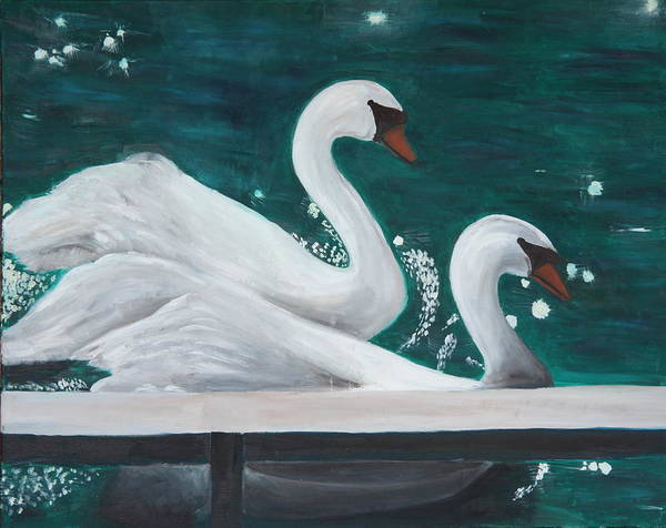 Animals Poster featuring the painting Swans by Taly Bar