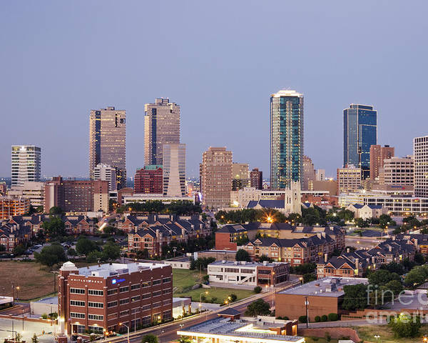 Apartment Poster featuring the photograph Tall Buildings In Fort Worth At Dusk by Jeremy Woodhouse