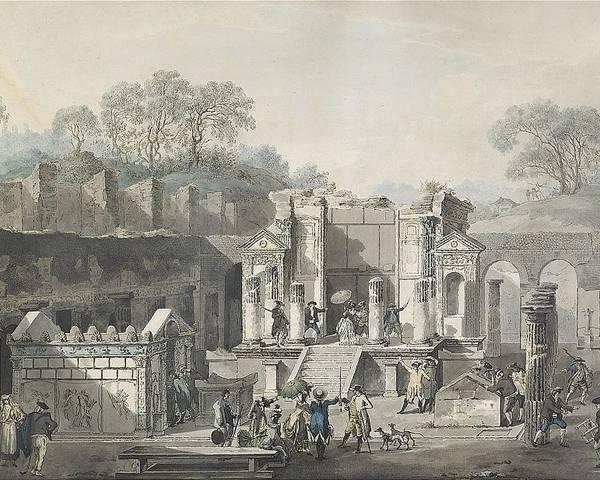 Louis Jean Desprez 1743-1804 Temple D'isis Vu De Face à Pompeja Poster featuring the painting Temple by Louis Jean
