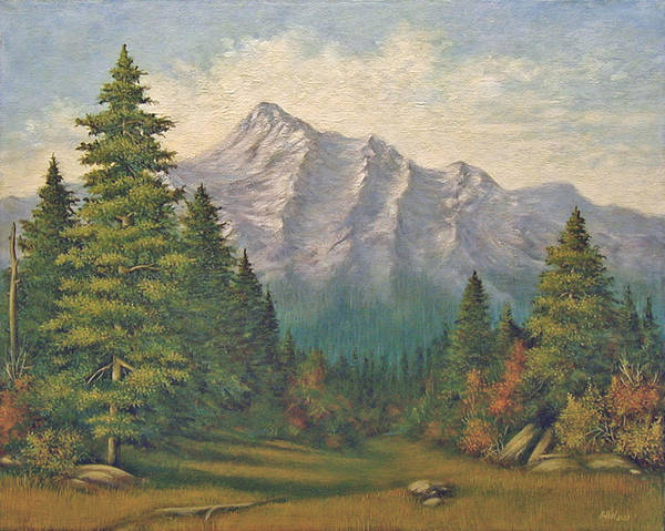 Landscape Poster featuring the painting Teton Meadow by Norman Engel