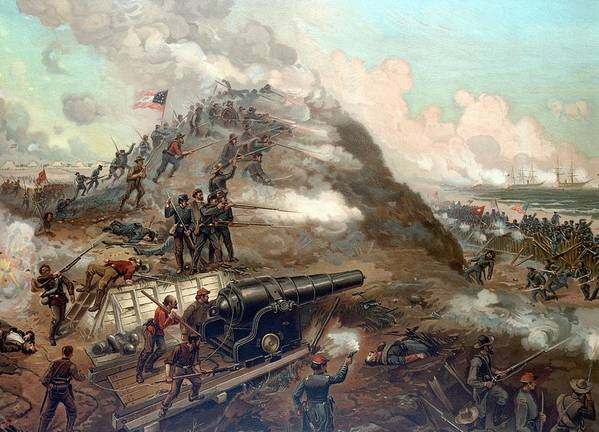 Civil War Poster featuring the painting The Capture Of Fort Fisher by War Is Hell Store