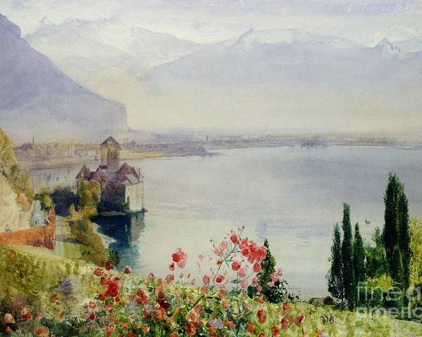 The Castle At Chillon Poster featuring the painting The Castle At Chillon by John William Inchbold
