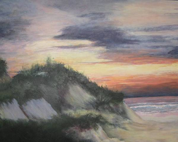 Seascape Poster featuring the painting The Cliffs by Sheryl Sutherland