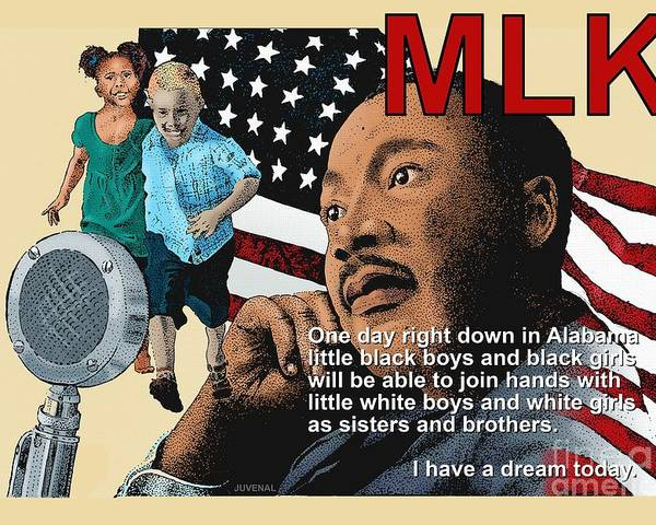 Canvas Prints Poster featuring the mixed media The Dream Speech by Joseph Juvenal