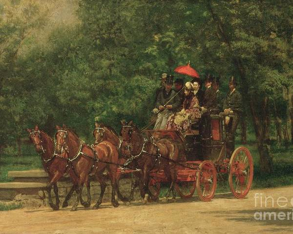 The Poster featuring the painting The Fairman Rogers Coach And Four by Thomas Cowperthwait Eakins