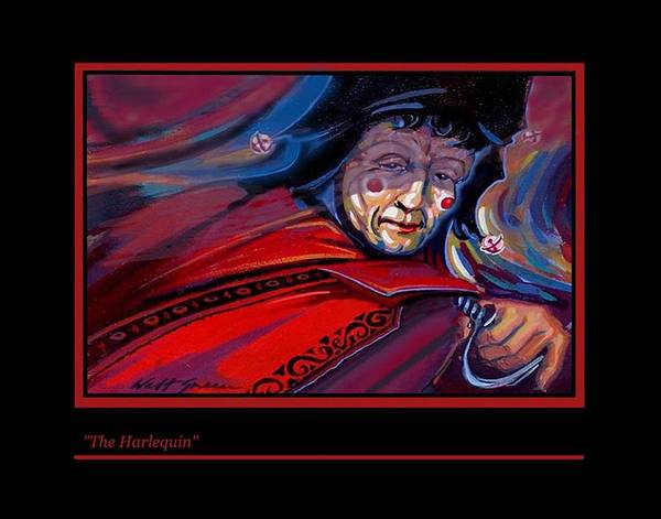 European Clown Harlequin Circus Clown Portrait Painting Poster featuring the painting The Harlequin by Walt Green