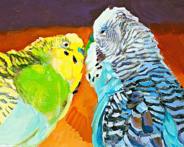 Birds Poster featuring the painting The Kiss by Debbie Beukema
