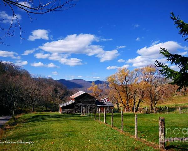 West Virginia Mountain Landscape Poster featuring the photograph The Log Barn by Teena Bowers
