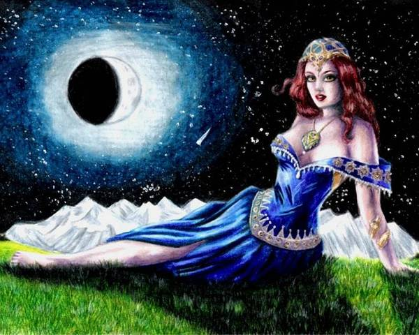 Witch Poster featuring the drawing The Moon Witch by Scarlett Royal