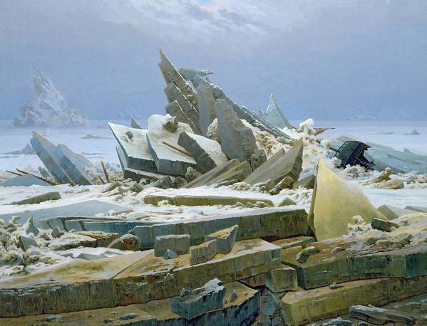 The Poster featuring the painting The Polar Sea by Caspar David Friedrich