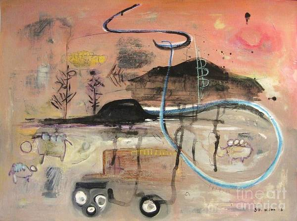 Acrylic Paper Canvas Abstract Contemporary Landscape Dusk Twilight Countryside Poster featuring the painting The Tempo Of A Day by Seon-Jeong Kim