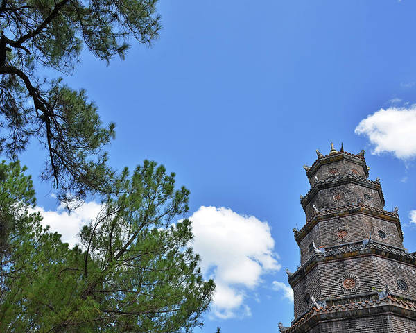 Landscapes Poster featuring the photograph Thien Mu Pagoda by Tran Minh Quan