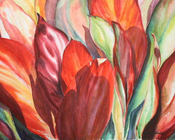 Foliage Of Ti Leaves Bathed In Light Poster featuring the painting Ti Leaves by Ileana Carreno