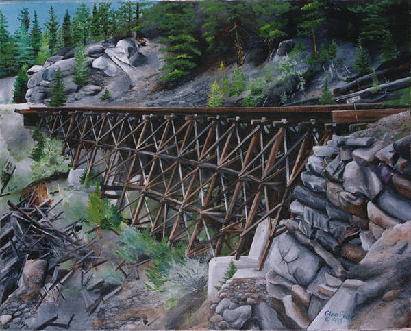 Trestle Poster featuring the painting Train Ghosts IIi by Glen Frear