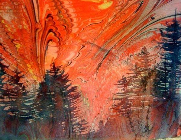 Evergreen Trees Poster featuring the painting Trees On Red Marbled Paper by Denice Palanuk Wilson