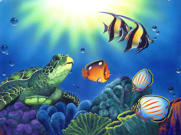 Turtle Poster featuring the painting Turtle Dreams by Angie Hamlin