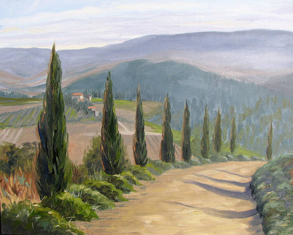 Landscape Poster featuring the painting Tuscany Road by Jay Johnson