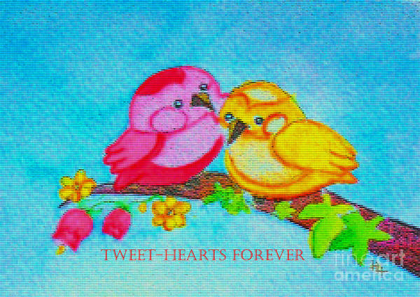 Birds Poster featuring the painting Tweet-hearts Forever by Hazel Holland