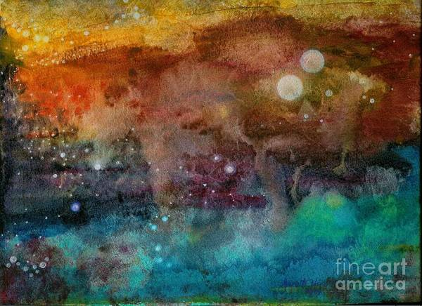 Atmospheric Poster featuring the painting Twilight In The Cosmos by Janet Hinshaw