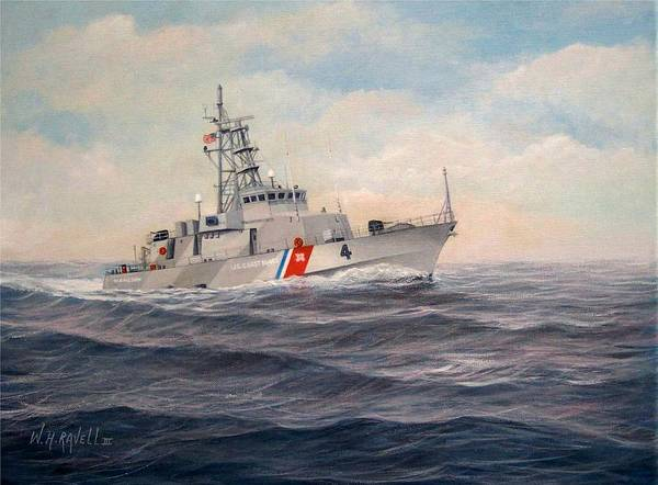 Coast Guard Poster featuring the painting U. S. Coast Guard Cutter Monsoon by William H RaVell III