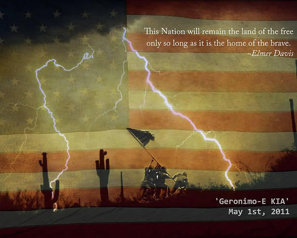 Lightning Poster featuring the photograph Usa Patriotic Operation Geronimo-e Kia by James BO Insogna