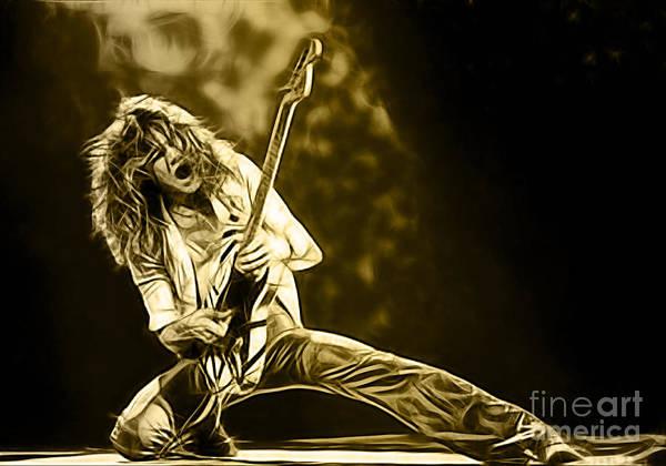 Eddie Van Halen Poster featuring the mixed media Van Halen Eddie Van Halen Collection by Marvin Blaine