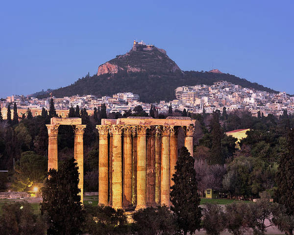 Ancient Poster featuring the photograph View Of The Temple Of Olympian Zeus And Mount Lycabettus In The by Andrey Omelyanchuk