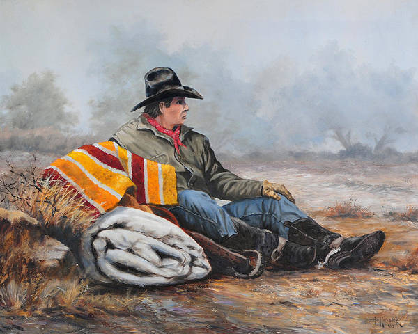 Bob Hallmark Poster featuring the painting Waitin' On The Boss by Bob Hallmark