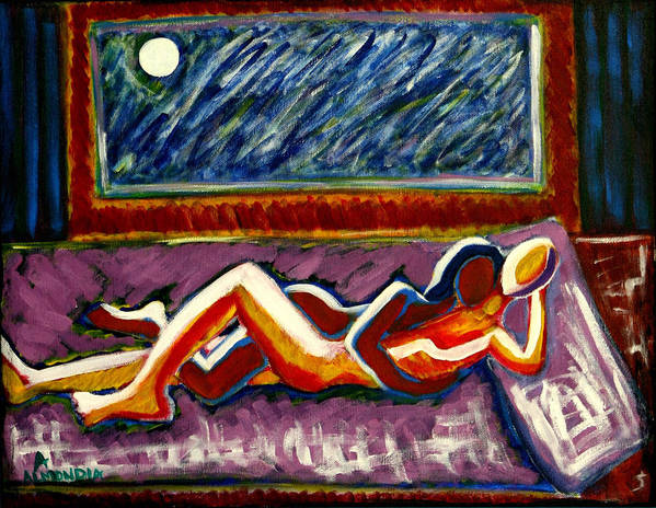 Men Poster featuring the painting Warmth by Albert Almondia