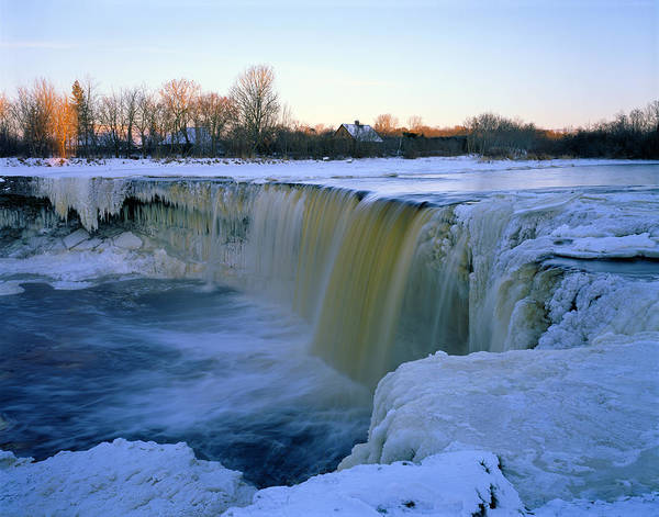 Winter Poster featuring the photograph Waterfall With Bluish Icicles by Romeo Koitmae