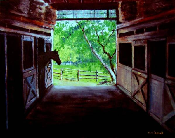 Horse Poster featuring the painting Water's Edge Farm by Jack Skinner
